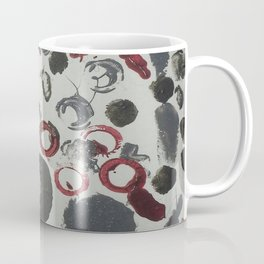 Moody Grey and Red Abstract Art Coffee Mug