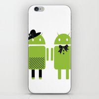 android iPhone & iPod Skins featuring android couple by Grazemee