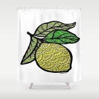 lemon Shower Curtains featuring Lemon  by Kris LeGates