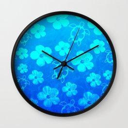 Blue Hawaiian Honu And Tropical Flowers Wall Clock
