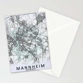 Mannheim, Germany, White, City, Map Stationery Cards