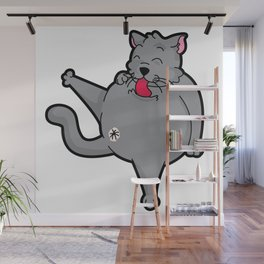 Happy grooming cat time Wall Mural