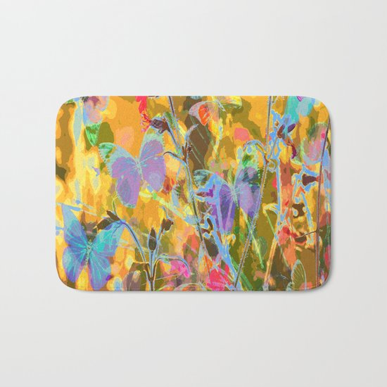 Butterflies flying in meadow - lovely colors and details - summer mood Bath Mat
