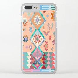Peachy Boho Kilim Clear iPhone Case