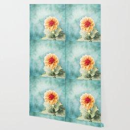 Aqua Orange Dahlia Flower Photography, Turquoise Teal Peach Nature Art Wallpaper