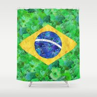 brasil Shower Curtains featuring BRASIL em progresso by Bianca Green