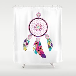Decorative native dream catcher with colorful stylized feathers Shower Curtain