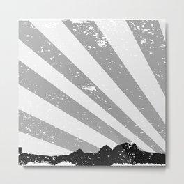 Town Silhouette Grey Grunge Metal Print