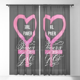 Girl Power Powers Girls (Dark) Sheer Curtain