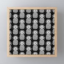 Mid Century Modern Pineapple Pattern Black and White Framed Mini Art Print