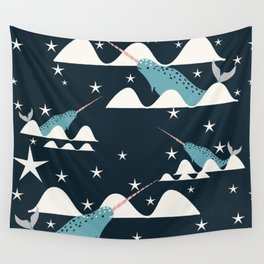 narwhal in ocean blue Wall Tapestry