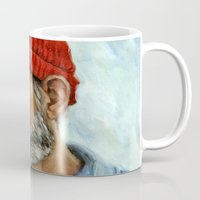 steve zissou Mugs featuring Bill Murray / Steve Zissou by Heather Buchanan