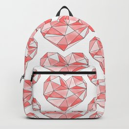 Pink Geometric Watercolor Heart  Backpack