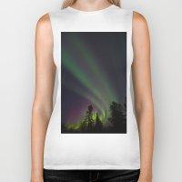 northern lights Biker Tanks featuring Northern Lights 3 by Pamela Barron