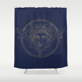 medusa / gold minimal line logo on navy background Shower Curtain