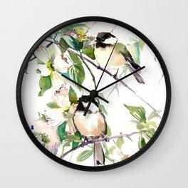 Chickadees and Dogwood Flowers Wall Clock