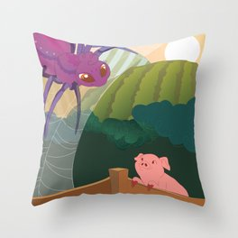 The spider and the pig Throw Pillow