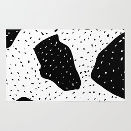 Modern geometric abstract black white color block polka dots pattern Rug