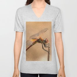 Painted Dragonfly Isolated Against Ecru Unisex V-Neck