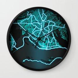 Kingston, Jamaica, Blue, White, Neon, Glow, City, Map Wall Clock