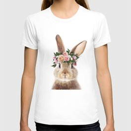 Baby Rabbit, Brown Bunny With Flower Crown, Baby Animals Art Print By Synplus T-shirt
