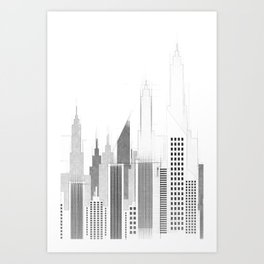 Modern City Buildings And Skyscrapers Sketch, New York Skyline, Wall Art Poster Decor, New York City Art Print