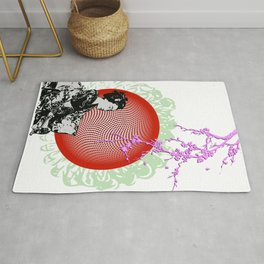 Geisha with cherry blossoms Rug