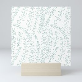 Round Eucalyptus Leaf Toss in White + Sage Mini Art Print