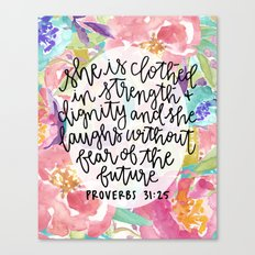 Proverbs 31:25 Floral // Hand Lettering Canvas Print