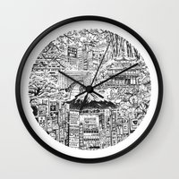 lost in translation Wall Clocks featuring Lost In Translation by Candice Soon