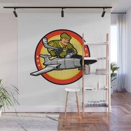 fighter plane pilot man.hockey player Wall Mural