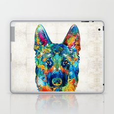Colorful German Shepherd Dog Art By Sharon Cummings Laptop & iPad Skin