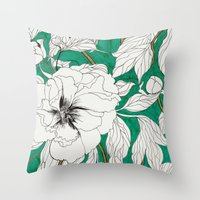 peonies Throw Pillows featuring green peonies by Marcella Wylie