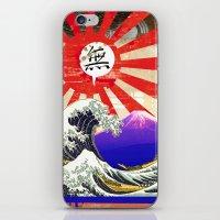hokusai iPhone & iPod Skins featuring COLLAGE: Hokusai by Diavu'
