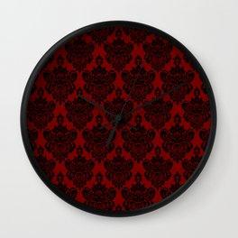 Crimson and Black Damask Wall Clock