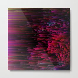 Speeding Neon - Abstract Glitchy Pixel Art Metal Print