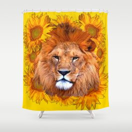 YELLOW TAWNY AFRICAN LION & GOLDEN SUNFLOWERS Shower Curtain