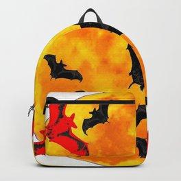 DECORATIVE FULL MOON  FLYING BLACK BATS HALLOWEEN Backpack