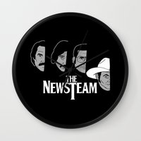 will ferrell Wall Clocks featuring The Newsteam by Buby87