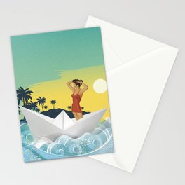 Girl in Boat Collage Stationery Cards