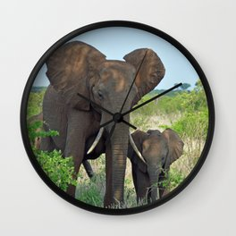 Elephant Mother & Baby Wall Clock