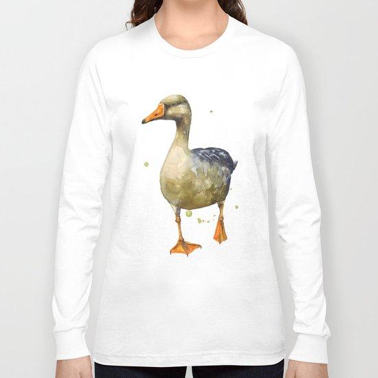 Goose, golden goose, goosey goosey gander, fowl art, farmyard animals, kitchen wall art Long Sleeve T-shirt