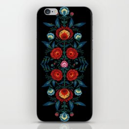 Flowers in Red and Blue iPhone Skin