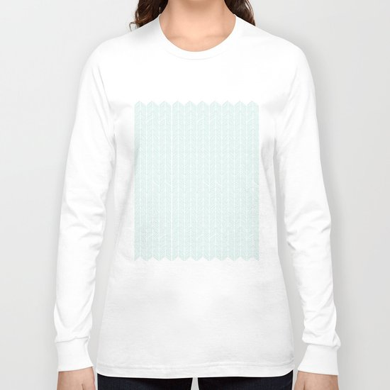 Hand drawn Herringbone in Aqua Long Sleeve T-shirt