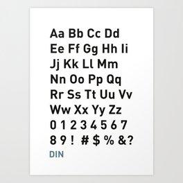 DIN Font Family Art Print