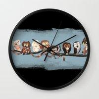 doctor Wall Clocks featuring Doctor Hoo - Painted Version by pupukachoo