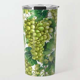 Watercolor bunches of white grapes hanging on the branch Travel Mug