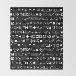 Wingdings Symbols Black Background White Font Throw Blanket