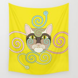 Yellow Spiral Cat Wall Tapestry