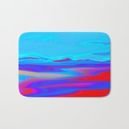 """Pixel Beach"" (Ice Blue/Red) Digital Painting // Fine Art Print Bath Mat"